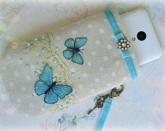Shabby Chic Pouch, Glasses Pouch Vintage, Glasses Cases, Spectacles Case, iPod Sock, Gadget Case, Sunglasses holder, Purse, Romantic gift