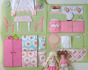Portable Fabric Dollhouse, two textile dolls, Role Playing Miniatures, Textile dollhouse, Travel Dollhouse, Dollhouse-bag, soft dollhouses