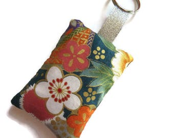 Keyring rectangular fabric, Japanese multicolored