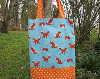 bag tote bag kids, library bag, reversible, foxes, dots, blue, orange
