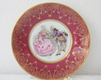 Vintage Limoges Caninet (Deep) Plate with Fragonard Decor, France