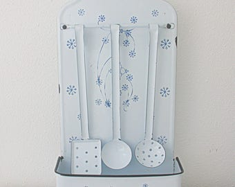 Vintage Enameled Utensils Rack with Utensils,  Kitchen Rack with Spoons, White with Blue Flower Decor