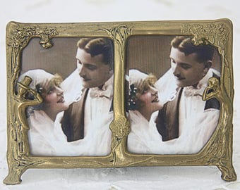 Lovely Vintage Small Double Ornate Photo Frame, Brass Frame, Bride and Groom, Wedding Gift, Art Deco Style, France