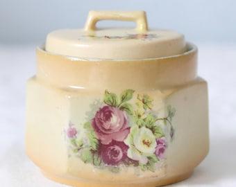 Set of Two Antique Devon Ware Semi-porcelain Vanity Boxes , Rose Decor, England