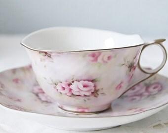 Vintage Meander Pink Porcelain Teacup and Saucer, Rose Decor and Real Gold Gilding
