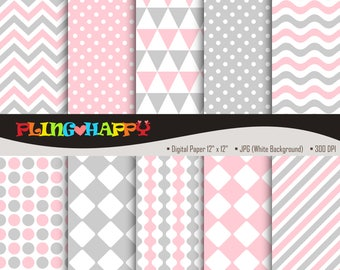 70% OFF Gray And Pink Digital Papers, Chevron/Polka Dot/Wave/Stripe Pattern Graphics, Personal & Small Commercial Use, Instant Download