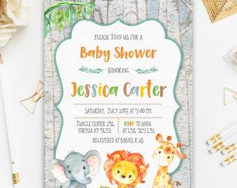 Jungle Baby Shower Invitation, Safari Baby Shower Invitation,Jungle Watercolor Invitation, Elephant Baby Shower Invitation,Rustic Invitation
