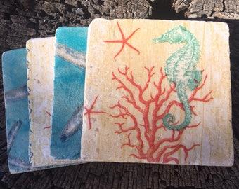 Coaster Set-Beach Coaster Set-Travertine tiles-Housewarming gift- Seahorse  Coaster set-Farmhouse Decor-Wedding gift- Starfish coaster set