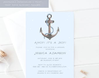 Nautical Baby Shower Invite Template - Ahoy It's a Boy - Printable Nautical Invite Template - Baby Boy Shower Invitation - Nautical Shower