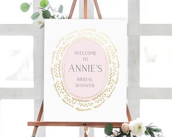 Pink and Gold Bridal Shower Sign, Bridal Shower Printable, Personalized Digital Bridal Shower Sign, Pretty Shower Sign, Bridal Shower Decor