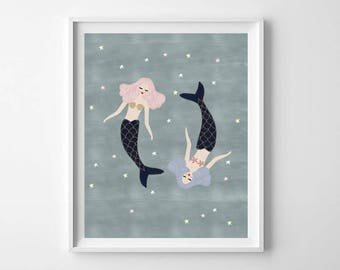 Whimsical Mermaid Painting, Printable Art, Whimsical Mermaid Decor, Mermaid Wall Art, Mermaid Painting, Whimsical Girls Room Art