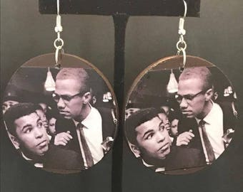 Muhammad Ali and Malcolm X Earrings