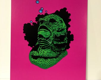 Creature from the black lagoon art print/horror/universal monsters/frankenstein/candy/animal/water/disney/movie/film/book/zine/sports/friend