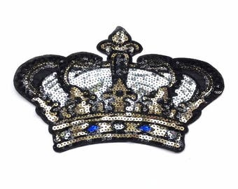 Kings Crown Embroidered Sequin Applique Patch Sew or Iron