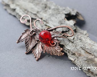 Red currant brooch with handmade glass bead Botanical brooch currant leaves Berry brooch Summer berries Red Summer brooch gift for her