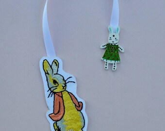 Bunny embroidered bookmark