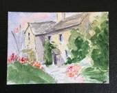 Landscape ORIGINAL Miniature Watercolour 'Hill Top' Lake District ACEO Cumbria Lakeland For him For her Home decor Wall art Gift Idea