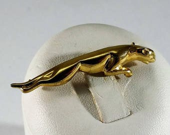 Old brooch gold 333 Panther Puma cat noble vintage GB107