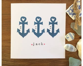 New Baby Personalised Anchors Hand Printed Greetings Card - Block Printed on Recycled White Card