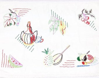 Fruit Embroidered Cloth Vintage Fabric Cloth With Fruit Vintage Fruit Cloth Vintage Fruit Cloth