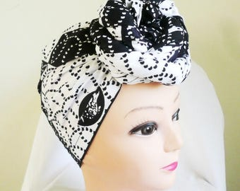Black and White Squares Ankara Head wrap, DIY head tie, Stylish African head scarf, Fabric hair accessory – Made to Order