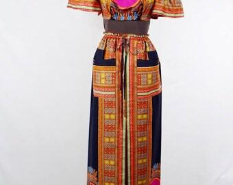 Black Dashiki Angelina African Wax Maxi Skirt and Midriff Top, Dashiki print skirt, Long African skirt, Short Dashiki Top - One of a kind
