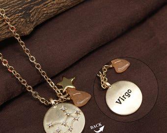 Virgo Zodiac Gemstone Astrology Constellation Horoscope Brass Handmade Necklace Jewelry, BN218-G