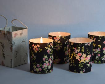 Pink & Cream  Flowers Blossom Soy Luminary Candle - Case of 4