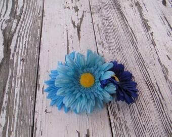 Tri-tone Blue Daisy Country Pinup Hair Flower