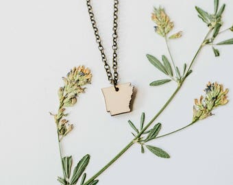 Arkansas Wood Necklace, Laser Cut Wood Charm, Baltic Birch Pendant, Arkansas State Necklace, State Shape Necklace, Arkansas State Pride