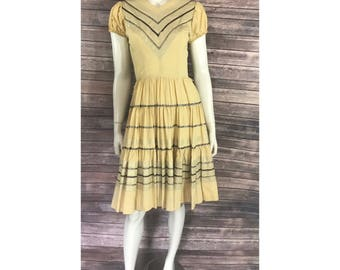 Vintage 1950s Western Fashions Costume Dress Square Dance Size Small Yellow Black