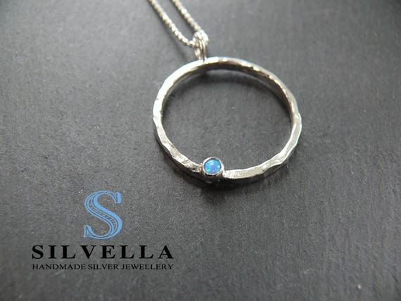 Sterling Silver Opal Circle Pendant - Handmade in Wales - Gift For Her