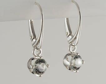 Mint Green Quartz and Sterling Silver Leverback Earrings