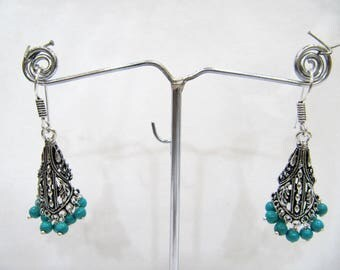 Beautiful Indian Earrings , Silver Oxidized Dangling Earrings With Turquoise Color Beads , Jhumka / Jhumki Dangle Drop Earrings.