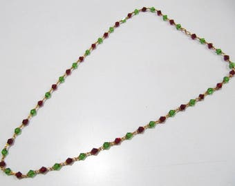 Red and Green Hydro Quartz Fancy Beaded Chain  , 26 inches Long Gold Plated Jewelry , Traditional Indian Rosary Necklace- 6mm Beads chain.
