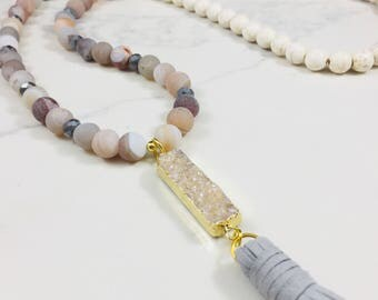 Druzy agate, labradorite, crystal and howlite beaded necklace with druzy pendant and tassel • Fast and free shipping