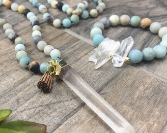 Amazonite beaded necklace with quartz crystal pendant and mini tassel • Fast and free shipping