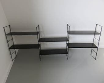 great modular shelf metal mid century typical 1950 1960 '50s 60's french vintage old black metal shelf