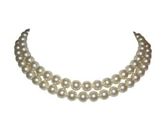 Salvatore Ferragamo Double Strand Simulated Pearl Necklace