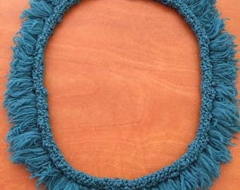 Knitted fringe necklace