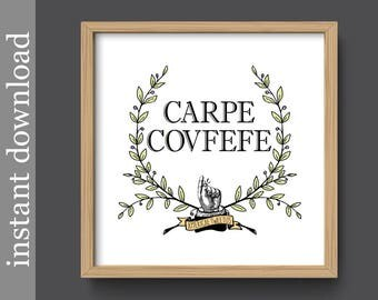 Carpe Covfefe, printable wall art, funny quote print, dorm wall art, dorm decor, office decor, funny Latin quote, trump tweet, covfefe print