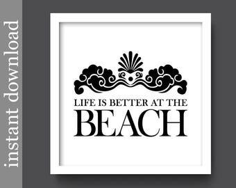 Beach Printable, Better At The Beach, beach house, beach decor, beach wall art, black and white, lake house art, beach download, beach quote