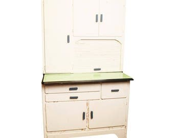 Vintage KITCHEN CABINET hutch shabby storage cupboard hoosier enamel top Green White kitchen farmhouse farm 40s 50s cupboard mid century