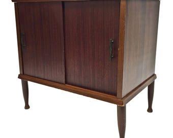 Mid Century Record Cabinet danish modern vintage wood table stand lp storage 60s vinyl wooden peg tapered legs brown grain laminate decor