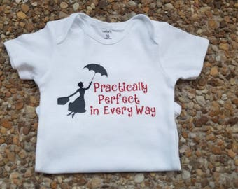 Practically Perfect in Every Way, Mary Poppins, Mary Poppins Party, Mary Poppins Shirt, Disney Birthday Tee, Trendy Baby Clothes