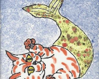 Mermaid Pet Cat Hand Painted Kiln Fired Decorative Ceramic Wall Art Tile 6 x 6