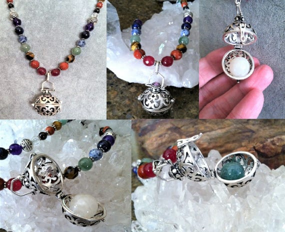Full Chakra Rainbow necklace with Sterling Silver Sphere pendant, 7 Chakra Balancing, Metaphysical, Sedona and Reiki charged, changeable,