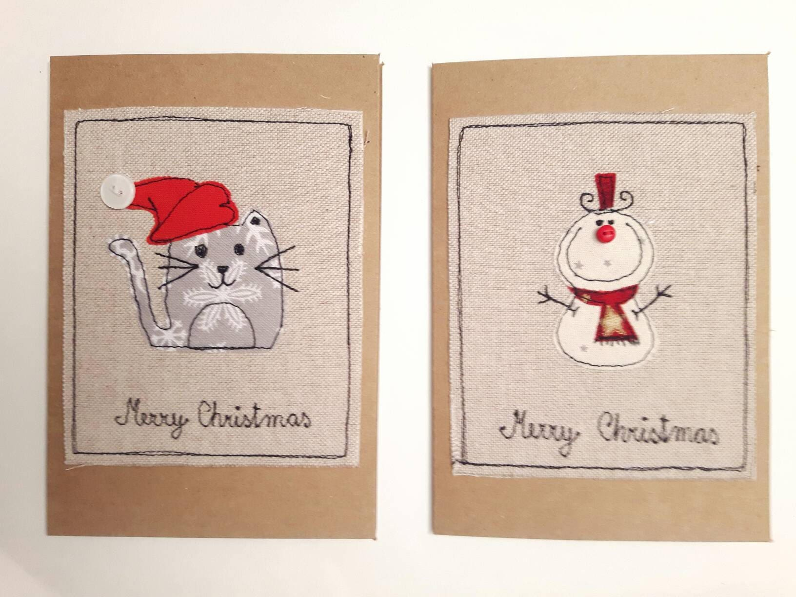 Pack of 4 christmas fabric greeting cards snowman card reindeer pack of 4 christmas fabric greeting cards snowman card reindeer applique cat christmas m4hsunfo