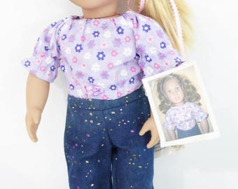 """New! 18"""" Doll Jeans and Crop Top Set, American Girl Doll Clothes, Blue Jeans for Doll, Purple Doll top for American Girl Doll, 2 pc Outfit."""