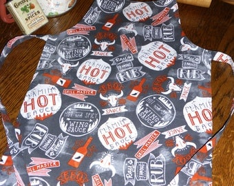 Child Size Barbecue Print Apron, Hot & Spicy BBQ Design Print Apron, Father and Son Apron, Kids BBQ Apron, Boy or Girl Barbecue Apron